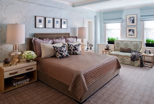 Traditional Master Bedroom with Wainscotting, Exposed beam, Carpet, Roman shade, Neiman marcus cristoval headboard
