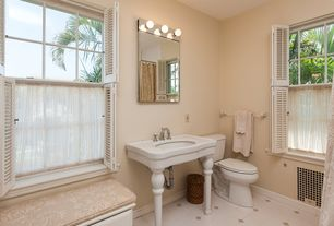 Tropical Full Bathroom with Paint 1, Window seat, double-hung window, curtain showerdoor, Shower, Console sink, Shutters