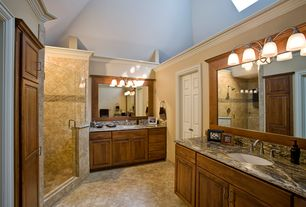 Craftsman Master Bathroom with Skylight, Framed Partial Panel, Shower, wall-mounted above mirror bathroom light, Raised panel