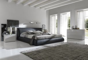 Contemporary Master Bedroom with Exposed beam, Paint 1, picture window, Hardwood floors, Rossetto USA Coco Brown Bed