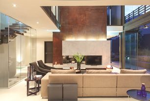Contemporary Living Room with Loft, Concrete tile , French doors, Cathedral ceiling