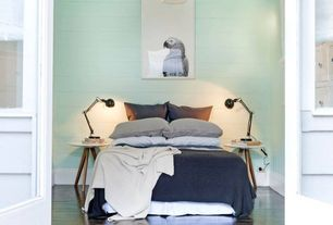 Contemporary Guest Bedroom with Hardwood floors, Pendant light