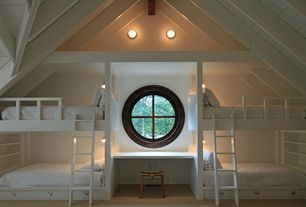 Cottage Kids Bedroom with Wall sconce, Carpet, Custom bunk bed, Built-in bookshelf, High ceiling, Exposed beam