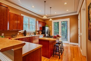 Contemporary Kitchen with Pendant light, Simple Granite, Crown molding, Flush, specialty door, European Cabinets, L-shaped
