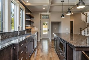 Kitchen with Transom window, can lights, Simple granite counters, full backsplash, dishwasher, European Cabinets, One-wall