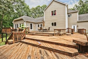 Traditional Deck with Fence, sliding glass door, Glass panel door, Deck Railing, Paint 1, Casement