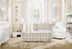 Traditional Kids Bedroom with Hardwood floors, Standard height, Casement, Chair rail, Chandelier, Paint 1, Built-in bookshelf