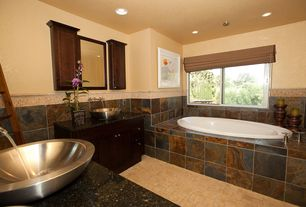 Craftsman Master Bathroom with Ms international multi color 12 in. x 12 in. gauged slate floor and wall tile, Vessel sink