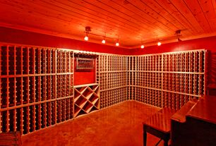 Craftsman Wine Cellar with flush light, Standard height, Concrete floors, Crown molding