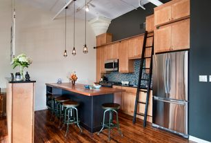 Contemporary Kitchen with One-wall, Kitchen ladder, Simple granite counters, Hardwood floor, High ceiling, Breakfast bar