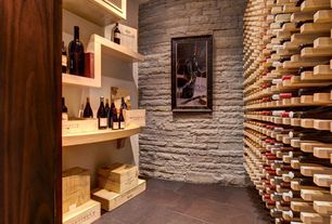 Traditional Wine Cellar with terracotta tile floors, Standard height, Built-in bookshelf