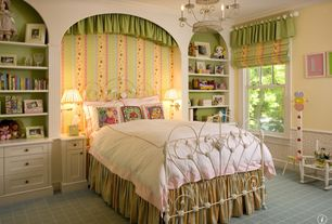 Country Kids Bedroom with Crown molding, Chandelier, Carpet, Wainscotting, Built-in bookshelf