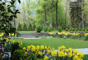 Traditional Landscape/Yard with Raised beds, February Gold Daffodils, Eagle Mountain Drystack Rock, Pathway