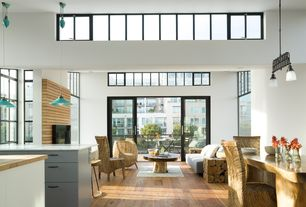 Contemporary Great Room with picture window, Cathedral ceiling, Transom window, Hardwood floors, Pendant light, Balcony