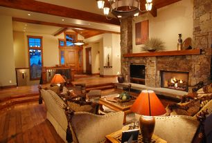 Craftsman Living Room with Black bear manufactured stone, Sunken living room, Exposed beam, High ceiling, Chandelier