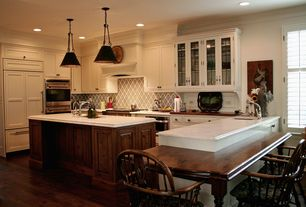 Traditional Kitchen with Wood counters, Complex marble counters, Walker Zanger Bianco Bello Marble, U-shaped, Inset cabinets