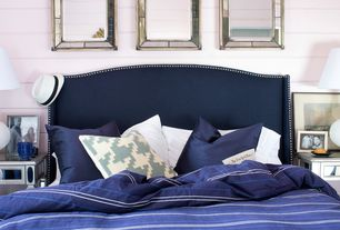 Eclectic Guest Bedroom with Reed and Barton Silver Link Midnight Picture Frame, Surya Silk Lane Decorative Pillow - Navy