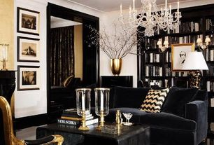 Traditional Living Room with Funky Sofa MONTANA sofa, Black and Gold Chevron Throw Pillow, Crown molding, Built-in bookshelf