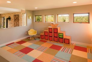 Contemporary Playroom with Flor Parallel Reality Carpet Tile, Carpet, Rice paper floor lantern