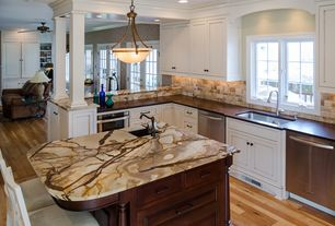Traditional Kitchen with European Cabinets, Soapstone counters, Kitchen island, wall oven, Undermount sink, L-shaped