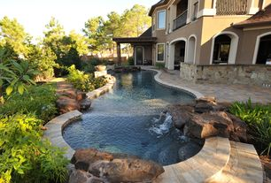 Contemporary Swimming Pool with Pathway, Fence, French doors, exterior stone floors