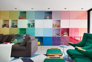 Eclectic Playroom with Built-in bookshelf, Colorful wall storage, Hidden storage, Color block, Carpet, Recessed lighting