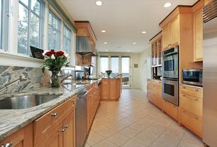 Modern Kitchen with Undermount sink, Glass panel, Flat panel cabinets, Complex granite counters, Complex Granite, U-shaped