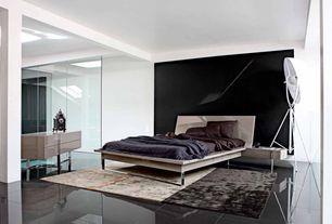 Contemporary Master Bedroom with Roche Bobois Diapason Chest, Columns, Roche Bobois Diapason Bedroom, Concrete tile