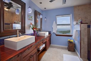 Tropical Master Bathroom with Daltile brancacci 12 x 12 aria ivory bc01, Raised panel, Master bathroom, Ceiling fan, Flush