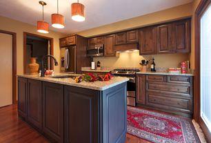 Rustic Kitchen with specialty door, Casement, Standard height, Kitchen island, partial backsplash, Flush, gas range, One-wall