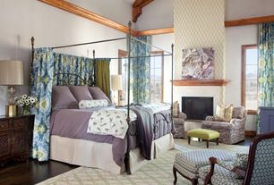 Eclectic Master Bedroom with Glass panel door, Casement, Exposed beam, insert fireplace, Cathedral ceiling, Crown molding