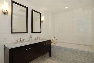 Traditional Master Bathroom with Restoration Hardware Sutton Single Sconce, Undermount sink, European Cabinets, Flush