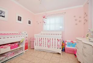Traditional Kids Bedroom with Crown molding, limestone tile floors