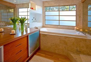 Contemporary Master Bathroom with Flush, Master bathroom, Armstrong oak gunstock hardwood, Wood counters, Glass panel