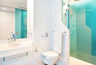 Modern 3/4 Bathroom with Handheld showerhead, Flush, Signature Hardware Leiden Wall-Mount Sink With Towel Bar, flush light