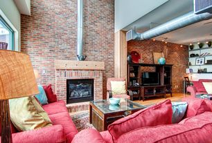 Eclectic Living Room with brick fireplace, Standard height, flush light, interior brick, Hardwood floors, Fireplace