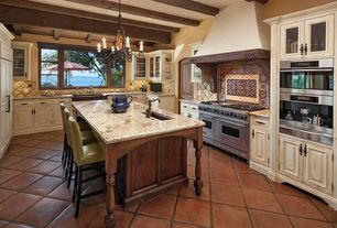 """Traditional Kitchen with U-shaped, Viking 48"""" 7 series gas range, Tribecca home estonia olive green upholstered counter"""
