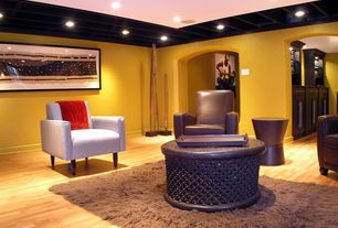 Eclectic Basement with Hardwood floors, Area rug, Paint 1, Pottery barn catalina upholstered arm chair, can lights