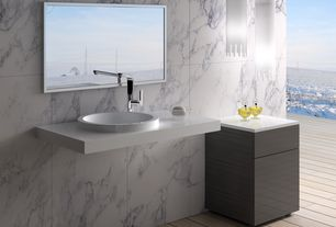 Contemporary Master Bathroom with Standard height, Wall Tiles, European Cabinets, Simple marble counters, three quarter bath