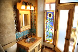 Country Powder Room with Mexican Tile Designs - Traditional Mexican Sink in Esplendor
