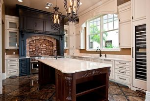 """Traditional Kitchen with Complex Marble, Quoizel Mystic Black Atrium 4 Light 21"""" Wide Candle Style Chandelier, Glass panel"""