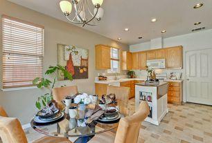Craftsman Kitchen with stone tile floors, can lights, specialty door, double-hung window, Standard height, Chandelier
