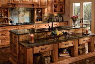 Eclectic Kitchen with Paint 1, Kitchen island, Flush, Flat panel cabinets, Multiple Sinks, Exposed beam, Stone Tile, One-wall