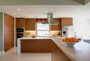 Contemporary Kitchen with Flush, 4 in. UltraCompact Surface Countertop in Ariane, Kitchen island, Waterfall countertop