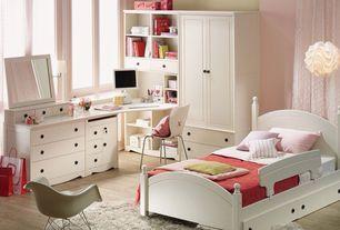 Modern Kids Bedroom with Pendant light, Hardwood floors, Art desk