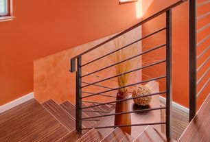 Contemporary Staircase with Allen + roth - smooth tigerwood wood planks laminate flooring, Laminate floors, High ceiling