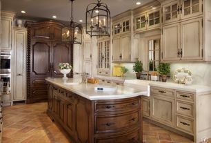 Country Kitchen with U-shaped, can lights, Framed Partial Panel, Flat panel cabinets, Pendant light, double wall oven