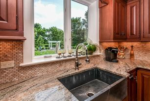 Country Kitchen with Casement, Ceramic Tile, L-shaped, Farmhouse sink, full backsplash, Raised panel, Standard height