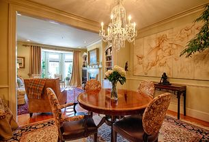 Traditional Dining Room with Chair rail, Hardwood floors, Chandelier, Crown molding