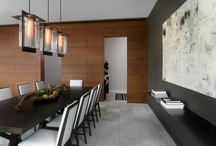 Contemporary Dining Room with Built-in bookshelf, Wood panel wall, Concrete tile , flush light